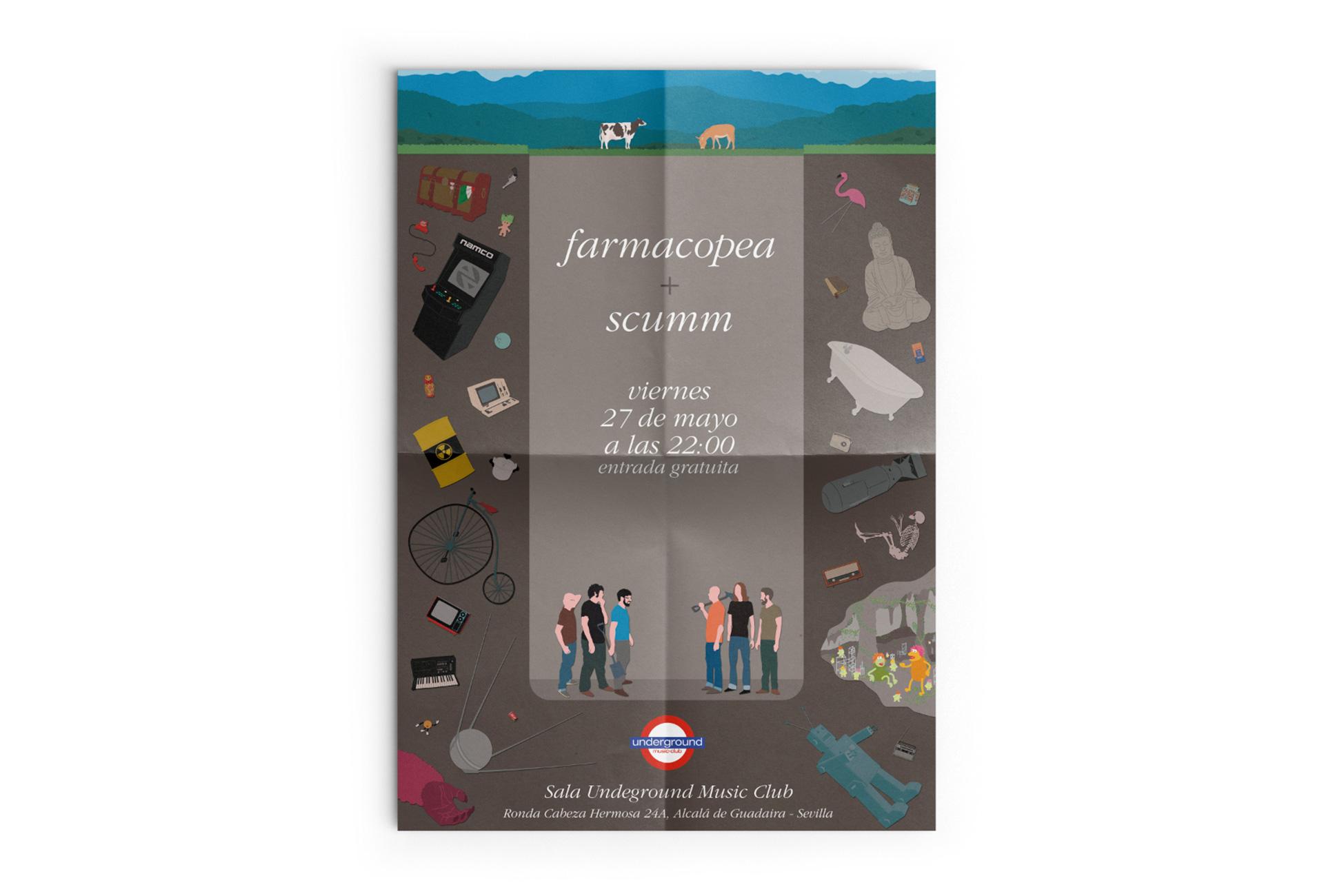 Scumm - Paracaídas fatales - póster farmacopea concierto